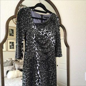 David Meister Leopard Asymmetrical Collared Dress